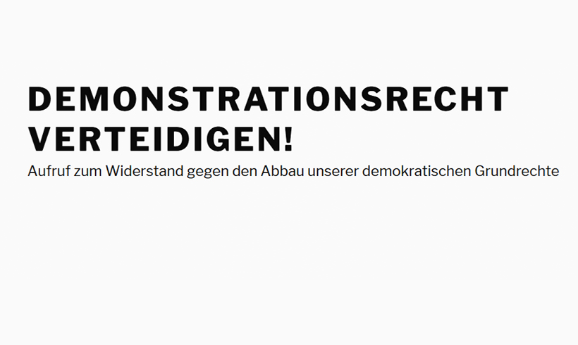 "Initiative ""Demonstrationsrecht verteidigen"" gestartet"