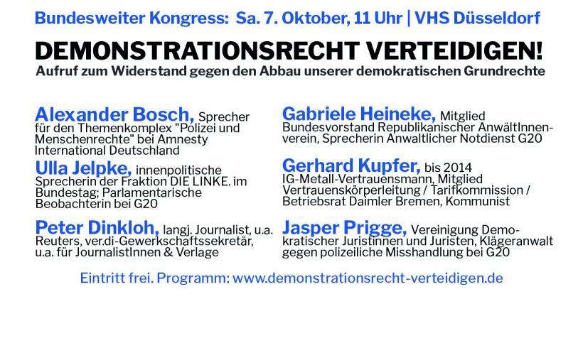 "Kongress ""Demonstrationsrecht verteidigen"" in Düsseldorf"